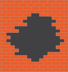 Hole in brick wall orange vector