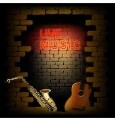 Live music neon light of brick wall saxophone and vector