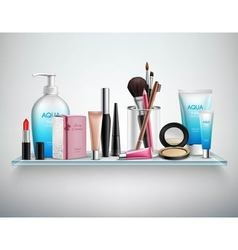 Makeup cosmetics accessories shelf realistic image vector