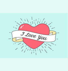 Old ribbon with message i love you vector