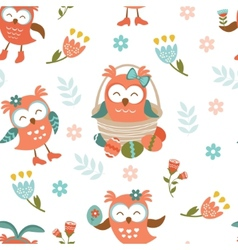 Pattern with Easter owls vector image vector image