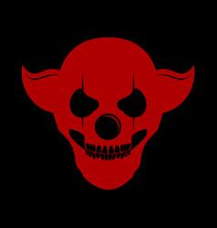 Red skull clowny head logo symbol design vector