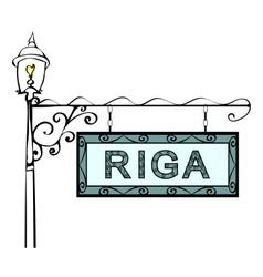 Riga retro vintage pointer lamppost vector