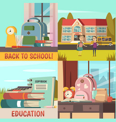 school orthogonal colored icon set vector image vector image