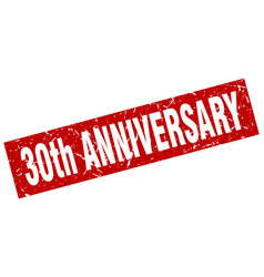 Square grunge red 30th anniversary stamp vector