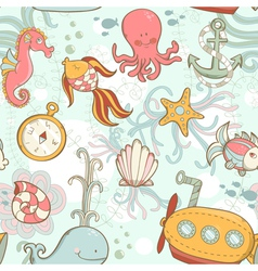 Underwater creatures cute cartoon seamless pattern vector