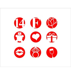 Valentines day icon set vector image vector image