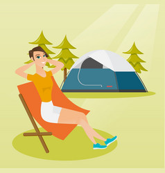 Woman sitting in a folding chair in the camping vector