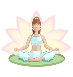 Yoga beautiful girl meditating in lotus position vector