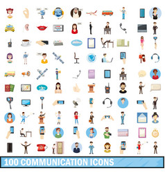 100 communication icons set cartoon style vector