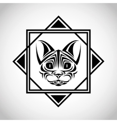 cat tattoo animal design vector image