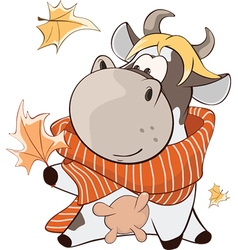 Cute Cow Cartoon Character vector image