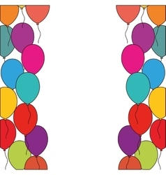 Colored balloons decoration party white background vector