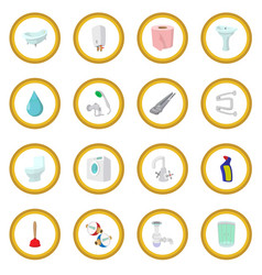 Sanitary engineering cartoon icon circle vector