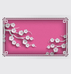 Pink oriental pattern background with sakura vector