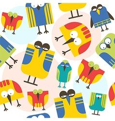 Seamless pattern cartoon bird vector image