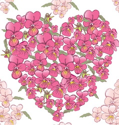 Pink heart of pansies on a white background vector
