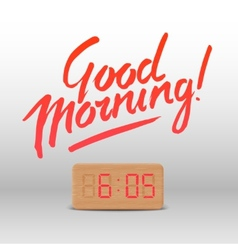 Good morning workspace mock up with wooden vector