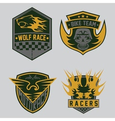 Auto and moto racing emblem set and design vector
