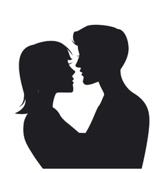 Two lovers silhouette vector
