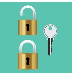 padlock lock with key isolated vector image