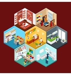 Shopping mall hexagonal pattern isometric vector