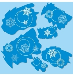 Snowflake ragged rectangle design 004 vector