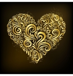 Golden heart on black background vector