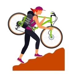 Bicycle travel woman climbs uphill vector