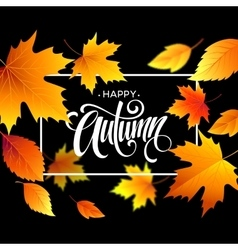 Autumn leaves background with calligraphy Fall vector image vector image