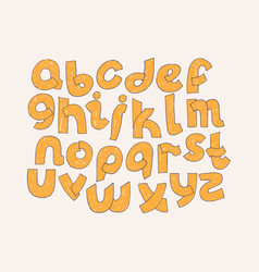 Bright alphabet hand drawn font decorated vector