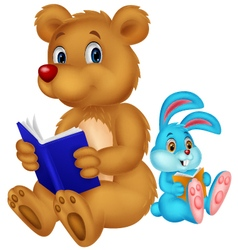 Cartoon bear and rabbit reading book vector