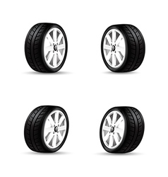 Collection of car wheels and racing tire isolated vector