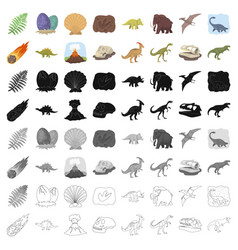 dinosaurs and prehistoric set icons in cartoon vector image vector image