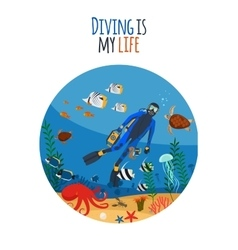 Diving is my life vector