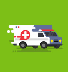 emergency ambulance car in flat style vector image vector image