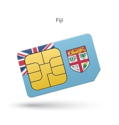 Fiji mobile phone sim card with flag vector