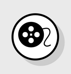 Film circular sign flat black icon in vector