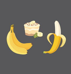Fresh banana fruits collection of vector