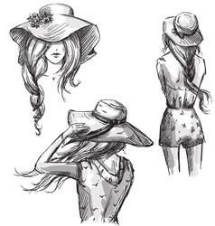 Girls in hats vector image vector image