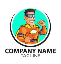 Orange superhero cartoon logo vector