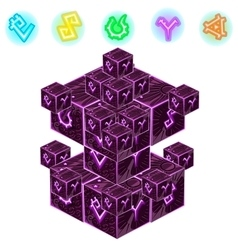 Purple magic cube with signs isolated vector