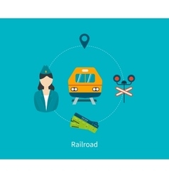 Railway station concept Train on railway vector image