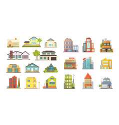 set of different styles residential houses city vector image vector image