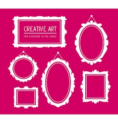 set of white rectangular and oval frames vector image vector image