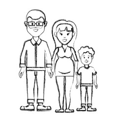 silhouette couple with their son icon vector image vector image