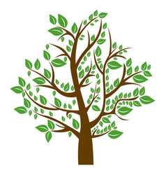 Silhouette tree with brown trunk and green leaves vector