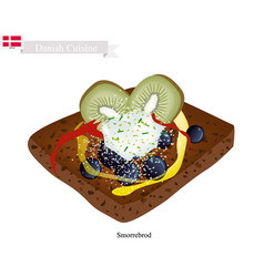 smorrebrod with slice kiwi the national dish of d vector image vector image