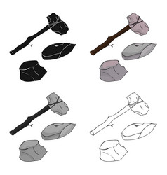 Stone tools icon in cartoon style isolated on vector