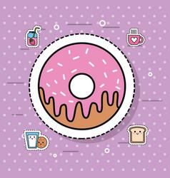 sweet donut dessert bakery food delicious vector image